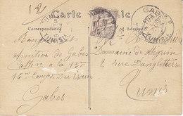 Carte Envoyée En Franchise  De Gabés Et Taxée 10 Cts à Tunis ,1915,2 Scans - Lettres & Documents
