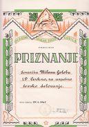 SLOVENIJA  NOVA  GORICA -- CERKNICA   PRIZNANJE   LOVSKA  ZVEZA  1967 - Diplômes & Bulletins Scolaires