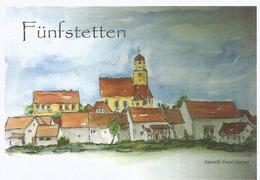 Catholic Parishchurch St. Dionysius In Fünfstetten (Bavaria) Allemagne, Carte Postale écrite Au Verso - Eglises Et Couvents