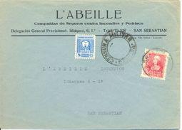 """España 1938 """" Carta De Granada A San Sebastian """"  Censura Y Sellos Locales. Ver 2 Scan - Nationalistische Uitgaves"""