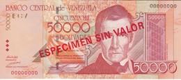 ESPECIMEN -BILLETE DE VENEZUELA DE 50000 BOLIVARES DEL AÑO 1998 SIN CIRCULAR-UNCIRCULATED (SPECIMEN) (BANKNOTE) MUY RARO - Venezuela