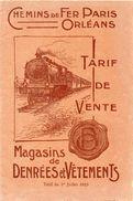 CHEMINS DE FER PARIS ORLEANS -TARIF DE VENTE -MAGASINS DE DENREES ET VETEMENTS JUILLET 1923  16X24CM 48 PAGES - 1900 – 1949