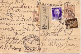 1930 Intero Postale 30c In Raccomandata Da Valledolmo Per Polizzi Generosa (PA)  018 - 1900-44 Vittorio Emanuele III