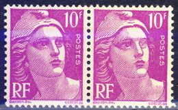 France. Yvert 811. Pair With The Left Eye Defective On One Stamp.  VF LH. - 1945-54 Marianne Of Gandon