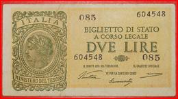 √ WAR TIME (1939-1945): ITALY ★ 2 LIRE 1944 CRISP! LOW START ★  NO RESERVE! - Biglietti Di Stato