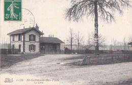 45 SAINT GERMAIN Des PRES  CPA  La GARE Ligne De CHEMIN De FER  TONNEAUX Timbre 1912 - France
