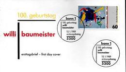 ALLEMAGNE    Carte FDC   1989  Tableaux Willi Baumeister - Sonstige