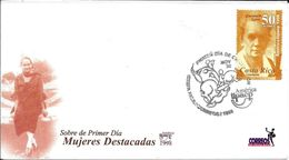 MUJERES DESTACADAS COSTA RICA AÑO 1998 SOBRE PRIMER DIA DE EMISION FDC TRES BON ETAT CARMEN LYRA - Costa Rica