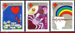 Ref. BR-2401-03 BRAZIL 1993 - HEALTH, PRESERVATION OF LIFE, RED, CROSS, HEART, CANCER, MI# 2515-17, MNH,3V Sc# 2401-2403 - Rotes Kreuz
