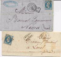 """2 Lettres Avec Griffe """"Après Le Départ"""" Graphisme Différent - 1849-1876: Klassik"""