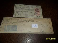 1920+1945 -2 FACTURE VIERZON + SAVERNE Avec 2 TP /QUITTANCES N° 12 + TP /FISCAL N° 127 -2 Photos - Fiscale Zegels