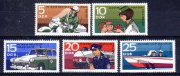 1970; RDA - Police Populaire; YT 1292 - 1296; Neuf **, Lot 49102 - Police - Gendarmerie