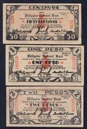 Filippine Philippines Emergency Notes WWII 1 + 2 Pesos + 50 Cent 1944 LOTTO 208 - Philippines