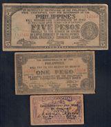 Filippine Philippines Emergency Notes WWII 5 + 1 Pesos + 10 Centavos LOTTO 172 - Philippines