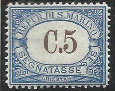 REPUBBLICA DI SAN MARINO 1939 SEGNATASSE POSTAGE DUE TASSE TAXE CENT. 5 MNH - Segnatasse