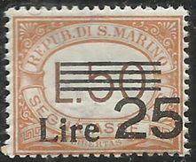 REPUBBLICA DI SAN MARINO 1943 SEGNATASSE TAXES POSTAGE DUE TASSE LIRE 25 SU 50 MNH - Segnatasse