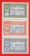 RARE RARO 3 Billets De Nécessité # 1937 Municipi D'Anglès Catalunya Espagne état Neuf - [ 2] 1931-1936 : République