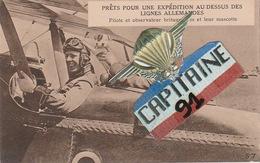 CPA PRETS POUR UNE EXPEDITION AU DESSUS DES LIGNES ALLEMANDES PILOTE ET OBSERVATEUR BRITANNIQUES ET LEUR MASCOTTE - Guerre 1914-18
