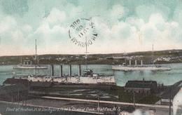 Vintage 1908 - H.M.S. Drake At Dock, Halifax Nova Scotia Canada - War Ship - Royal Navy Cruiser - 2 Scans - Warships