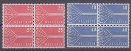 Europa Cept 1957 Switzerland 2v  Bl Of 4 (small Spot On Gum 1v 40Rp) ** Mnh (36955) - Europa-CEPT