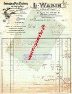 92- ASNIERES- FACTURE L. WARIN -RAPEAUD-FABRIQUE POTS COUVERTS POUR PHARMACIE- 9 RUE DU PARC-12 RUE MONTESQUIEU-1942 - Old Professions