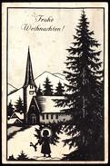 A7616 - Alte Künstlerkarte - Glückwunschkarte Weihnachten - Scherenschnitt - Josefine Allmayer - Scherenschnitt - Silhouette