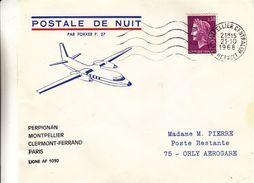 France - Lettre De 1968 - Oblit Montpellier - 1er Vol De Nuit Perpignan Paris - Cachet Orly Aérogare  Val De Marne - France