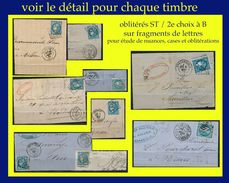 N° 46B III REP. 2 CÉRÈS ÉMISSION DE BORDEAUX 1870 - 10 EX. OBLITÉRÉ ST / 2e CHOIX À B SUR FRAGMENTS D'ENVELOPPES - Postmark Collection (Covers)