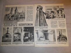 """Origineel Knipsel ( 30 ) Uit Tijdschrift  """" Het Volk """" 4 Blz. :  Wederopbouw """" Ijzertoren """" Dixmude  Diksmuide - Oude Documenten"""