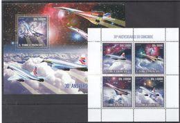I316 2006 S.TOME E PRINCIPE AVIATION SPACE CONCORDE 1KB+1BL MNH - Concorde