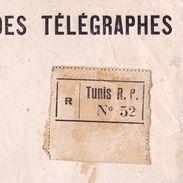 Tunis Tunisie Protectorat Français Lettre Recommandée 1936 Direction Des Postes Et Des Télégraphes Seclin - Non Classés