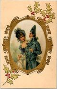 CPA Soie Médaillon Art Nouveau Gaufré Non Circulé Femme Girl Woman - Fancy Cards