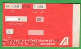 Alitalia Avion Flight Buono D'imbarco Anni 70 - Transportation Tickets