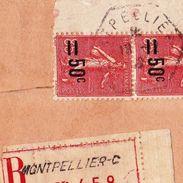 Lettre Recommandée Montpellier Hérault Bande De 4 Semeuse Lignée Freydier Rue Baudin Montpellier - 1903-60 Semeuse Lignée