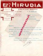 33- BORDEAUX- FACTURE ETS. HIRUDIA- 8 RUE CURSOL-PHARMACIE- PHARMACIEN-PARFUMERIE- 1941 - Old Professions