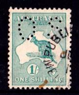 Australia 1915 Kangaroo 1 Shilling Green 2nd Watermark Perf OS Used  - See Notes - 1913-48 Kangaroos