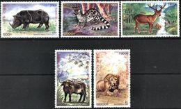 LAOS, 1999, FAUNA, WILD ANIMALS, RHINOCEROS, LIONS, BUFALLO, GAME, YV#1356-60, MNH - Félins