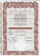 TITRE De COLLECTION  UNION FRANCAISE DE BANQUES Action 100 Francs - Actions & Titres