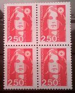 FRANCOBOLLI STAMPS FRANCIA FRANCE 1991 MNH** QUARTINA SERIE MARIANNE 2,50 - Nuovi