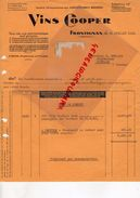 34- FRONTIGNAN- FACTURE VINS COOPER-STE EXPLOITATION DES LABORATOIRES BOURDOU- VINS PHARMACEUTIQUES-P. BRUN PHARMACIEN - Food