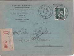 FRANCE 1944 LETTRE RECOMMANDEE DE NICE-GRIMALDI RETOUR A L'ENVOYEUR  TYPE PETAIN - 1941-42 Pétain