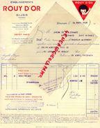 21- DIJON- FACTURE ETS. ROUY D' OR- DEPOT A PARIS 20 RUE DU BANQUIER-1938 - Food