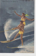 Cypress Gardens Florida - Topside Tandem Waterskiing - 35 Mph      (A-54-130309) - Water-skiing