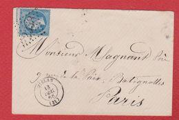 Enveloppe / De Mielan / Pour Paris  / 13 Décembre 1866 - Storia Postale