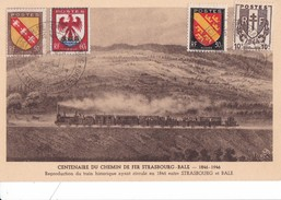 CENTENAIRE  Du CHEMIN De FER  STRASBOURG -   BALE   1846 - 1946,,,,,, Au Verso , Timbre +  CACHET De Le SNCF,,,TBE - Ferrovie
