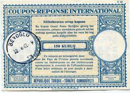 TURQUIE COUPON REPONSE INTERNATIONAL DE 150 KURUS AVEC OBLITERATION BEYOGLU 12-8-61 - Turkey