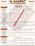87-LIMOGES- FACTURE DASPET -CUIRS PEAUX- 119 A 127 RUE D' AIXE- 1944 - Old Professions
