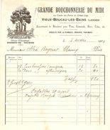 FACTURE 1924 GRANDE BOUCHONERIE DU MIDI VIEUX BOUCAU LES BAINS LANDES ( 40 ) - EXTRACTION DE LIEGE - OBLET CHAUNY - Droguerie & Parfumerie