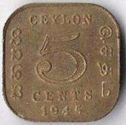 Ceylon 1945 5 Cents [C464/2D] - Coins