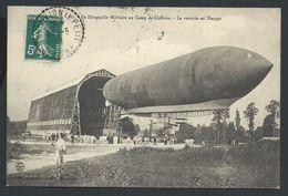 +++ CPA - Aviation - Avion - Le DIRIGEABLE Militaire Au Camp De CHALONS - Rentrée Au Hangar   // - Zeppeline